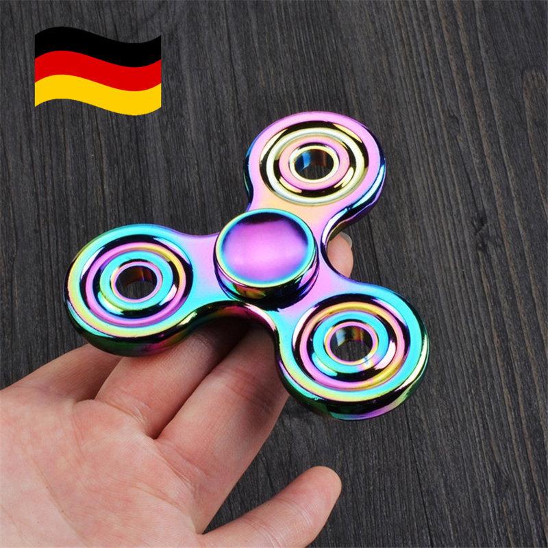 Fidget Hand Spinner Regenbogen Rainbow Triple Tri-Spinner Spielzeug Geschenk NEU